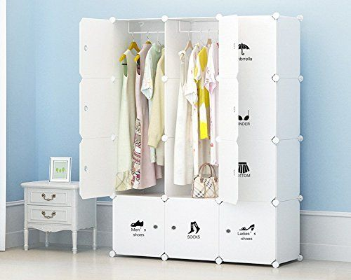 """Portable Closet Clothes Wardrobe by KOUSI, Bedroom Armoire Storage Organizer with Doors, Capacious & Sturdy. 12 cube White  【CUSTMIZABLE WARDROBE】: The positions of the storage cubes and hanging areas can be customized to your liking.  【CAPACIOUS PORTABLE CLOSET】: Each cube measures 14""""(W) x14""""(D) x14""""(H), the wardrobe measures 44''(W) x19''(D) x58''(H).  【MULTI-FUNCTION STORAGE】: Ample space for storing almost anything: clothes, shoes, bags, beddings, books, toys, tools, boxes and mor..."""
