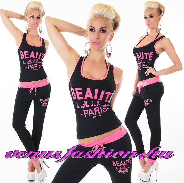 Fekete pink szabadidő együttes top + nadrág - Venus fashion női ruha webáruház