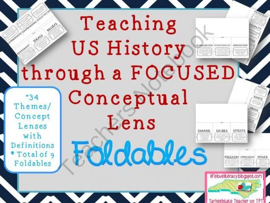 FOLDABLES for Teaching US History Through Conceptual Lens 34 Themes from Tarheelstate Teacher on TeachersNotebook.com -  (23 pages)  - This product is a set of 9 foldables with 34 social studies theme/conceptual lens definitions that you can use to guide your social studies instruction.