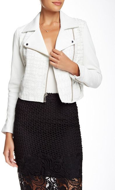 $299, White Leather Biker Jacket: Andrew Marc New York Andrew Marc Tattered Croc Leather Moto Jacket. Sold by Nordstrom Rack. Click for more info: https://lookastic.com/women/shop_items/284251/redirect