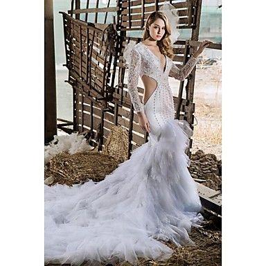 Sheath/Column V-neck Chapel Train Wedding Dress (Lace/Satin/Tulle) – USD $ 1,499.99