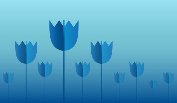 Blue tulips fairy tale field by Kruglikov Art Centre on @creativemarket