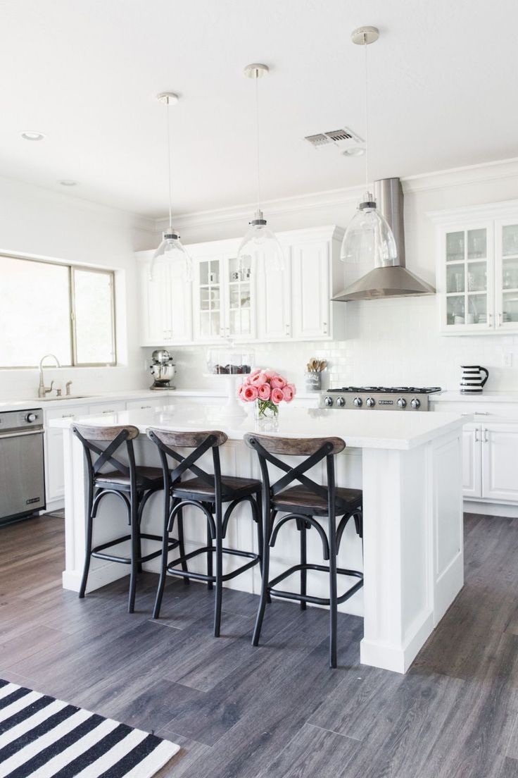 My White Kitchen | Stoegbauer Home Tour 2016  Victoria White Quartz Countertops  White Subway Tile Backsplash  Gray/Brown Wood-Look Tile  @westelm Pendant Lights