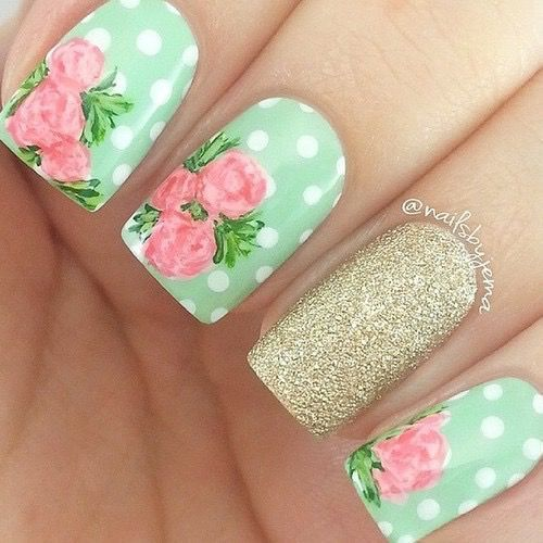 nice 50 Flower Nail Designs for Spring   StayGlam