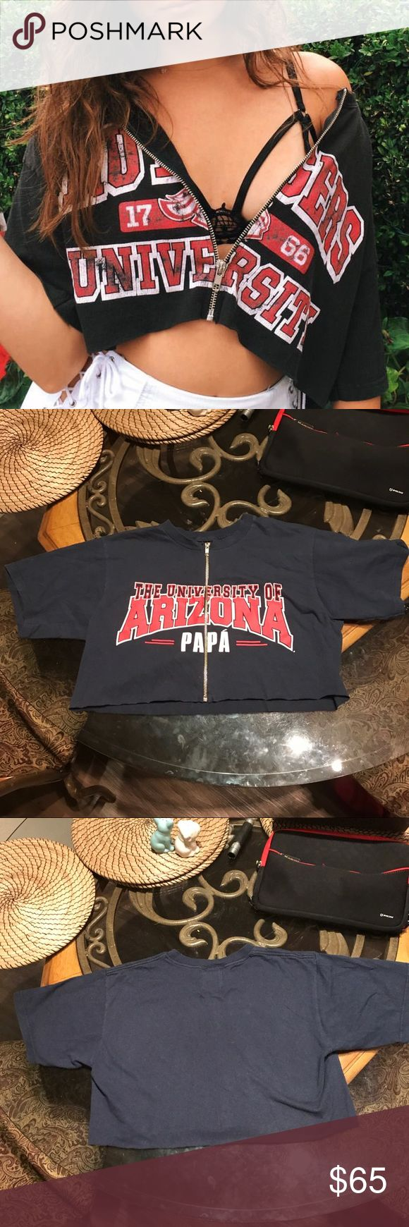 Lf furst of a kind vintage tee LF furst of a kind vintage tee. University of Arizona with zip up design in the middle. Navy blue with red and white writing. One size posted as small because it's pretty cropped (: LF Tops Crop Tops