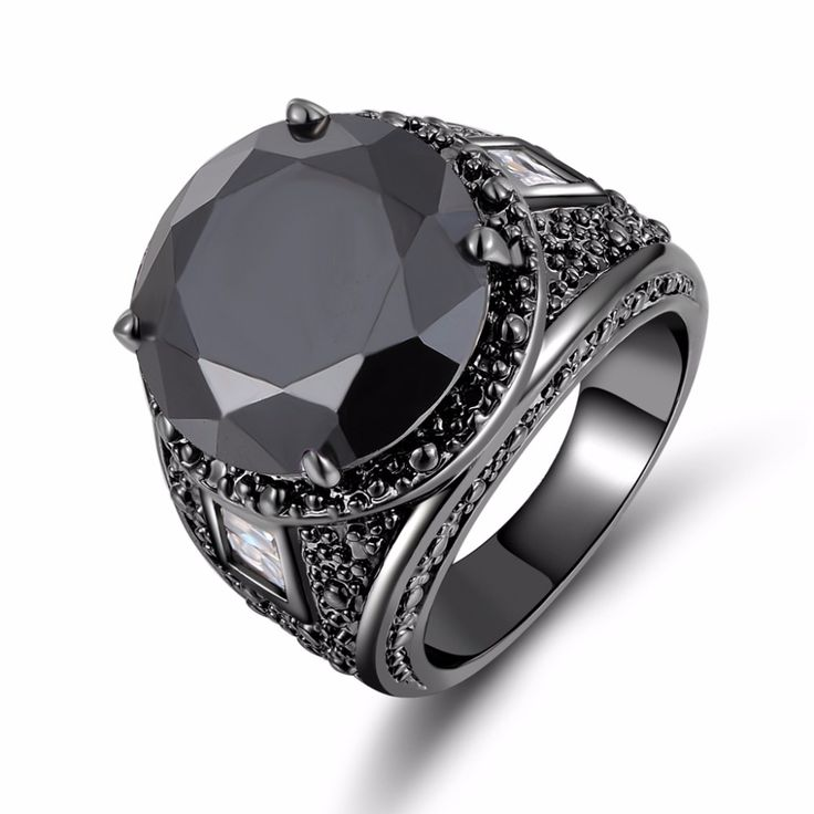 2017 Fashion men Jewelry big men's Simple Black gold Stone male Ring Black Rhodium Plated Engagement Ring Gifts