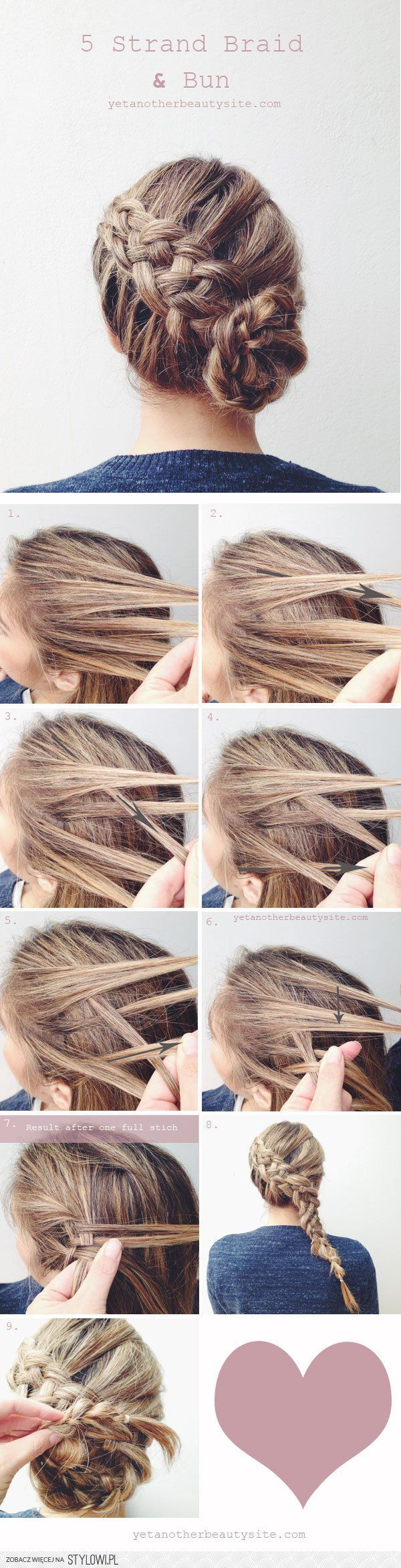 5 strand braid & bun hairstyle | beauty site na Stylowi.pl