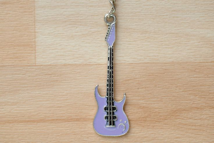 Purple Guitar Keychain - Guitarist Gift - Metal Keychain - Keychain For Her - Music Lover Gift - Charm Keychain - Key Chains For Women by SkadiJewelry on Etsy