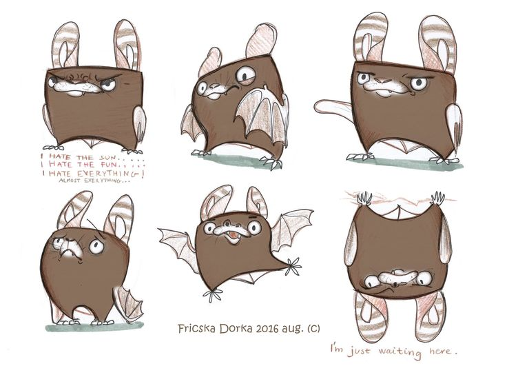 Bat character drawing / animal design brown /