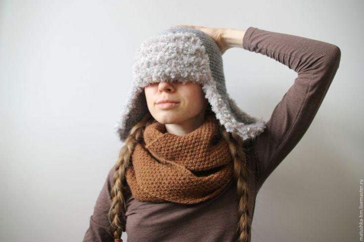 Купить Шапка - ушанка - серый, однотонный, шапка, вязаная шапка, шапка крючком, шапка-ушанка