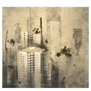 EARTHLINES 14. #Lienzo de #CaynSanchez. #Acrílico, #spray, 3transfer y sal sobre #tela, 70x70 cm., 2016. Con certificado de autenticidad. 350€ #Artwork #Barcelona
