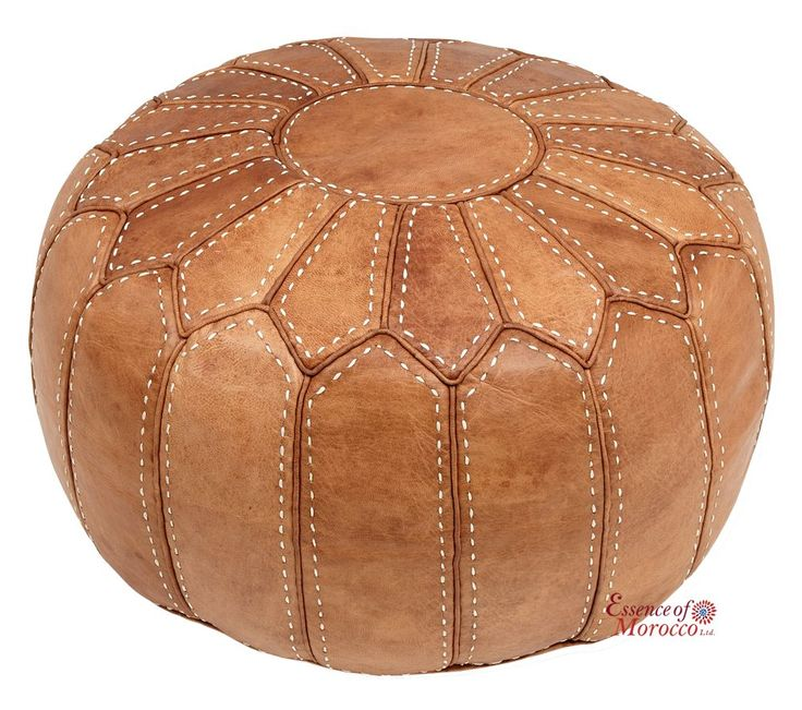 Moroccan Pouffe Ottoman Stuffed in the UK. Genuine Natural Tan Leather. Handmade Hand-stitched. Professionally Upholstered