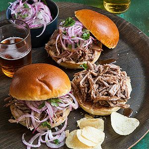 Pulled Pork Sandwiches w/ Pickled Onion Slaw are perfect for entertaining a crowd.