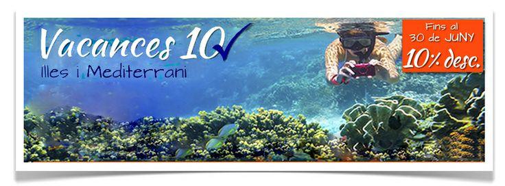 # vacaciones #mediterraneo #islas   http://campuvic.traveltool.es/navegacion/paquete/home.aspx  Paquete Vacacional: Vuelo + Hotel, Vuelo + Hotel + Traslados y Vuelo + Hotel + Coche  • Islas: Baleares y Canarias • Mediterráneo  Circuitos por el Mediterráneo Realizadas hasta el 30 de Junio, con salida entre de Julio a Septiembre 2014 y con más de 15 días de antelación a la fecha de salida.  10% de descuento sobre el precio base del viaje, excluyendo tasas y suplementos