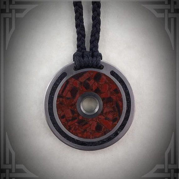 Titanium Necklace with Iron Banded Jasper and Black Jade Stone handmade by AncientWorks1 on etsy.com