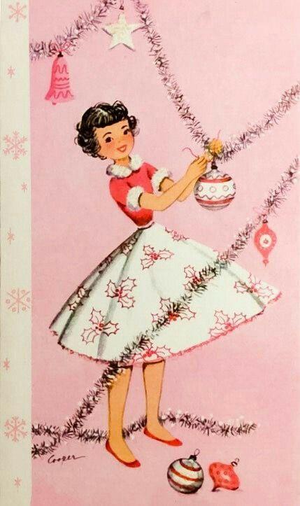 Vintage Christmas Card #pink #cute #vintage