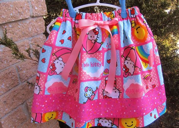Elsa Skirt HELLO KITTY KAT  Fully Lined Skirt by ElsaSieron, $25.00