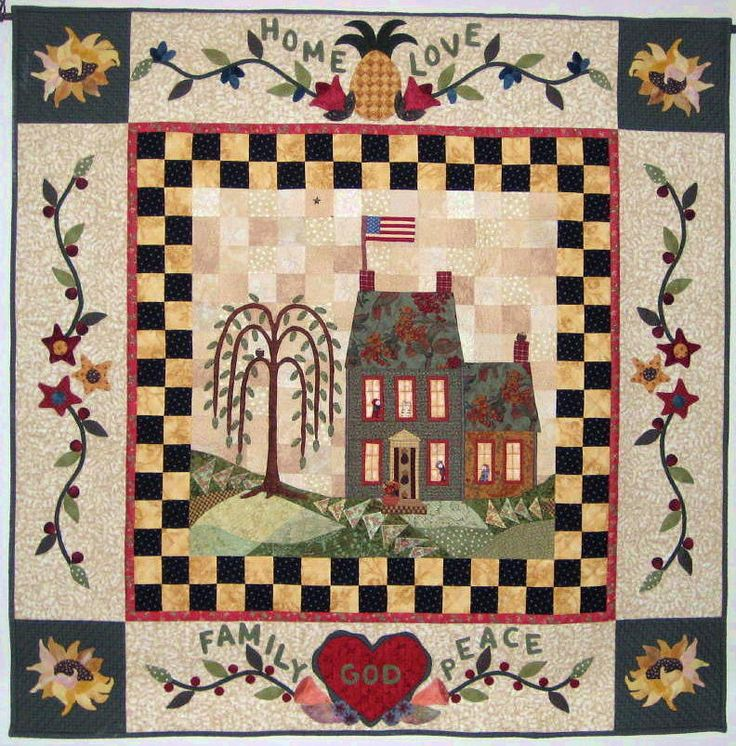 """""""House on Willow Hill"""" by Becca at Willow Hill Quilts, 2005,  as seen at Quilt Views.  This quilt was designed for a contest and as featured in McCall's Quilting as a 5 part series quilt"""