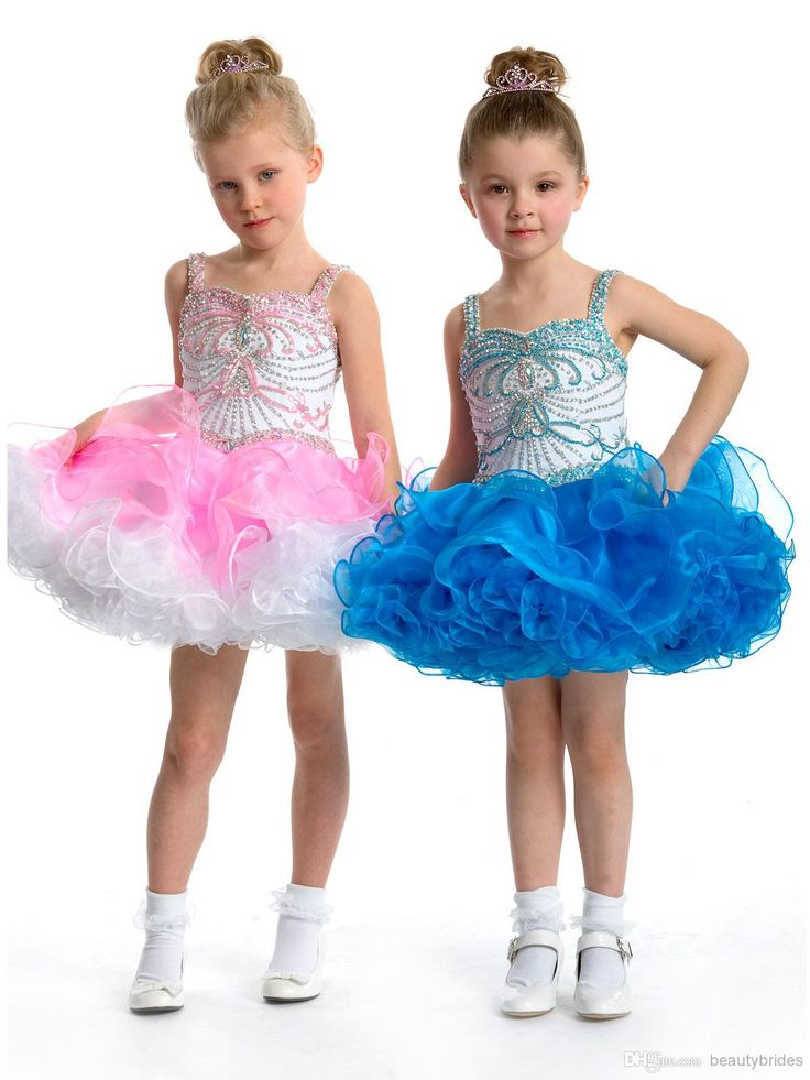 spaghetti strap short mini ruffle white organza little girls party dresses