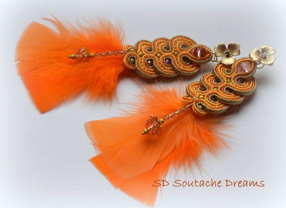 Soutache Earrings Orage Earrings Bead Charm by SDSoutacheDreams