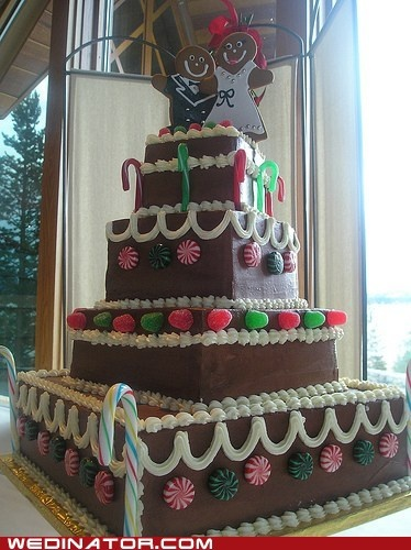 Gingerbread wedding cakes are adorable additions to a December wedding.