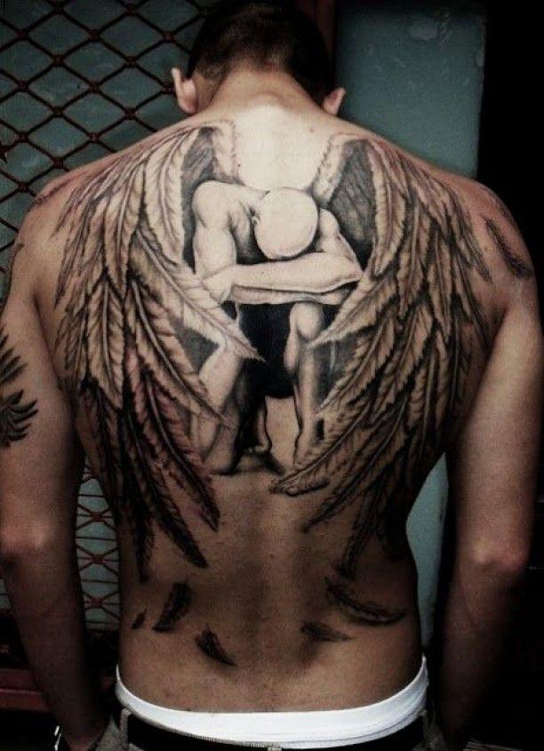 Tattoo Rücken Flügel Portrt 3D