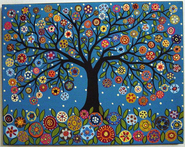 Blooming Best Tree acrylic and oil original folk art abstract painting by Karla Gerard