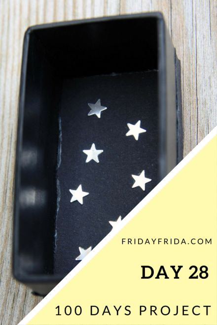 "Day 29: Quote 74: ""Though my soul may set in darkness, it will rise in perfect light; ""I have loved the stars too fondly to be fearful of the night."" Sarah Williams Materials: Cardboard box, black …"