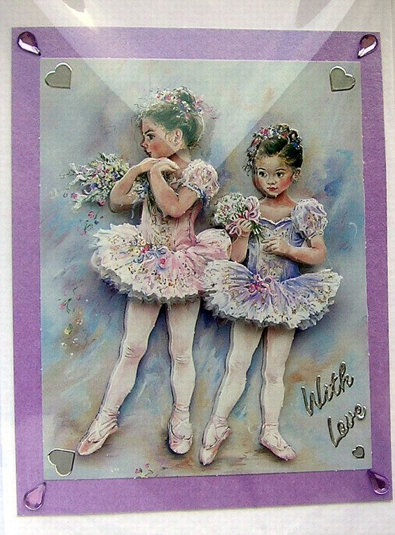 Ballerina  HandCrafted 3D Decoupage Card  With by SunnyCrystals, £1.35