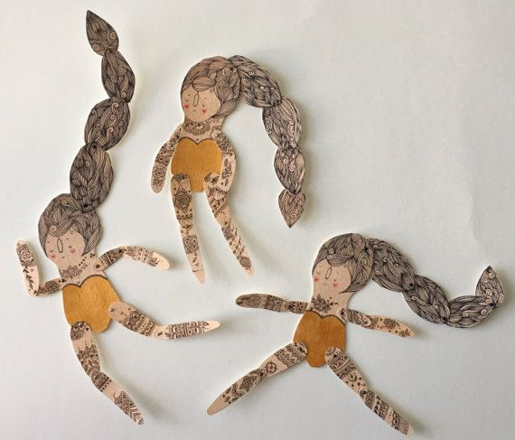 Henna tattoos Art Paper Doll- Handmade, Painted- OOAK octopus inspired -ready to ship