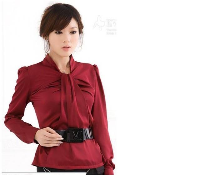 kemeja kerja wanita merah panjang