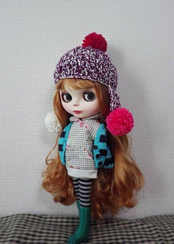 12 blythe doll hat ear flap crochet mixed purple