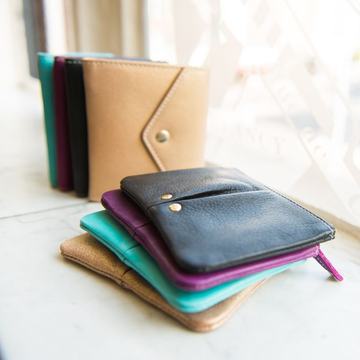 Luxury Leather Accessories, wallet, coin purse. Fairtrade. gold, black, turquoise, purple.  Buy at: www.bettyandbetts.com