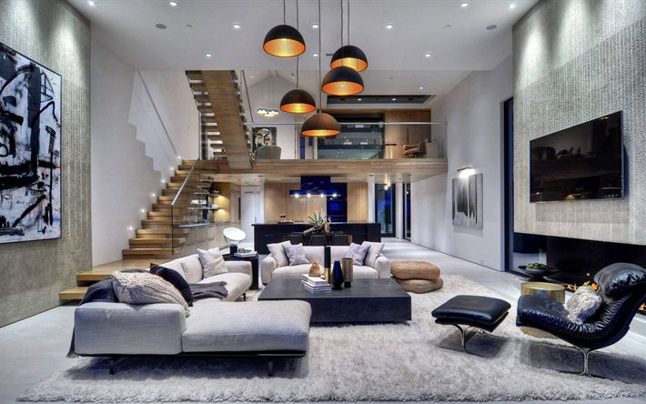 Download wallpapers country house, luxurious modern interior, modern design, staircase, sofa, kitchen