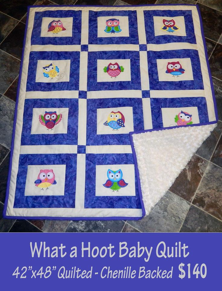 What a Hoot Owl Baby Quilt, Chenille Backed by SensationalEmb on Etsy
