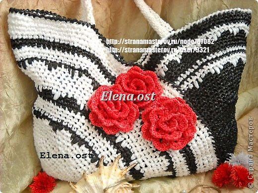 Wardrobe, decor items Knitting, Crochet: bag of plastic bags waste material, polyethylene birthday.  Photo 1
