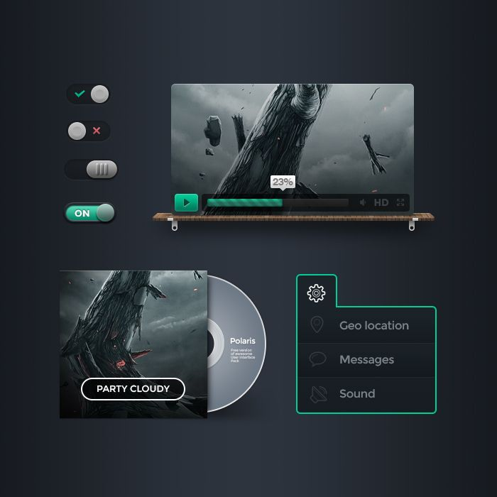 Polaris UI Free by Vladimir Kudinov, via Behance