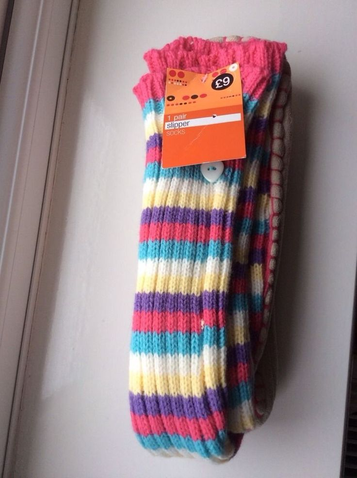 "M&S 1Pair Ladies Slipper Socks Size UK4-7, Sole:10""or 25.5cm, Pastel BNWT RRP£9"