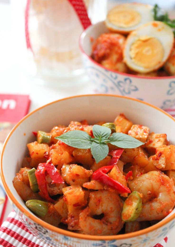 """""""Sambal Goreng Udang & Petai"""" is basically made from potatoes, tofu, shrimps and """"tempe"""". The special ingredient of this dish is the stinky beans. This is one of my favorite indonesian food. Just try it and you'll love it!"""