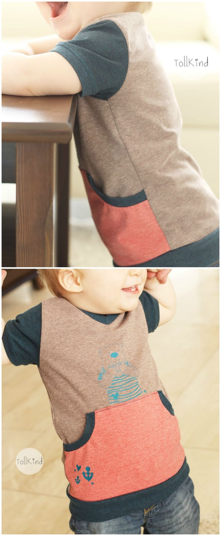 Ein süßes Tshirt: Genäht von Tollkind aus verschiedenen Stoffkontor Jerseystoffen.