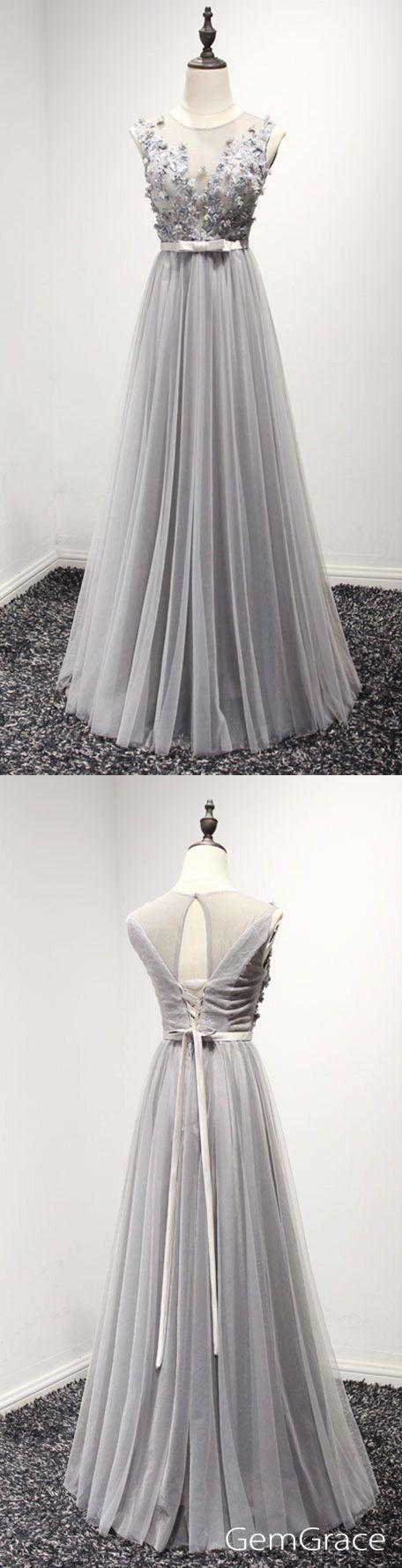 Classy long tulle prom dress in grey