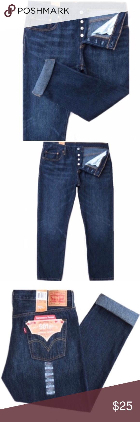 """NWT Levi's 501 CT Women's Button Fly Jeans Brand new with tags Levi's 501 CT womens button fly jeans. Dark blue wash. Button fly. Cotton. Size 31 by 34. They have a 10"""" rise and 31"""" inseam. Very nice! Levi's Jeans"""