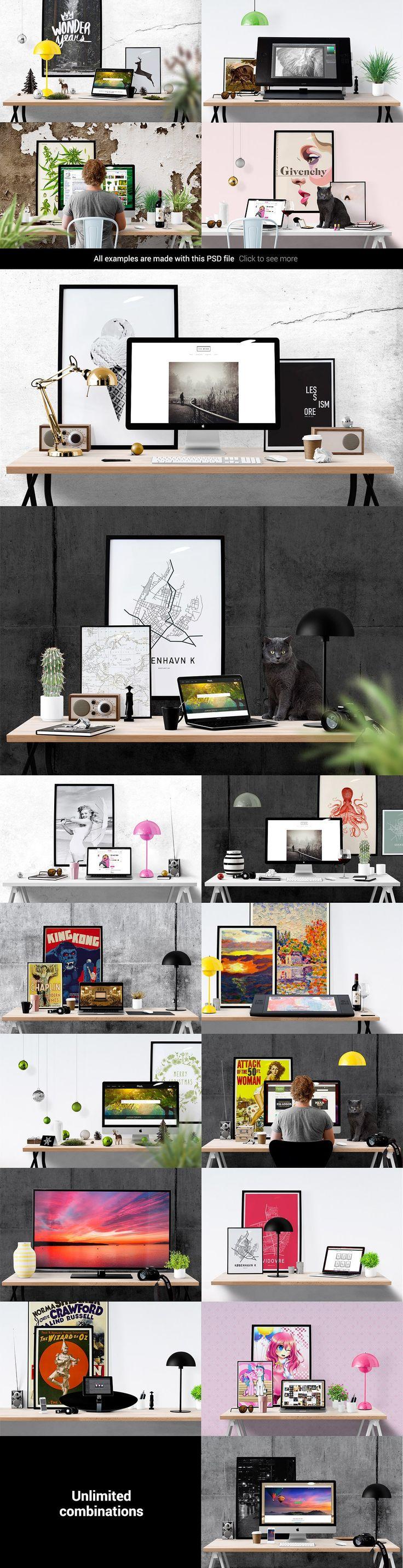 6 poster design photo mockups 57079 - Mockup Scene Creator Desk Edition By Place To On Creative Market Design Websites Poster