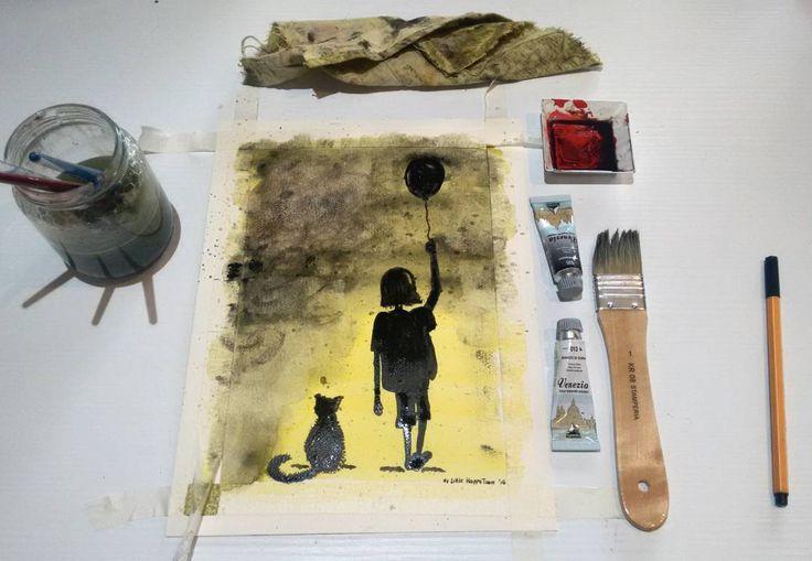La bambina con il palloncino. Illustrazione ad acquerello.