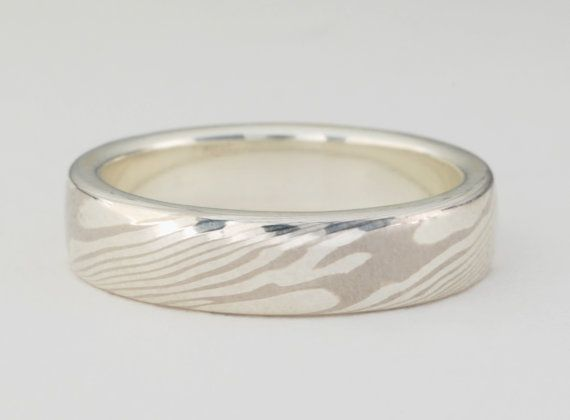 Mokume Gane Ring: White Gold and Sterling Silver, Narrow 5mm $566