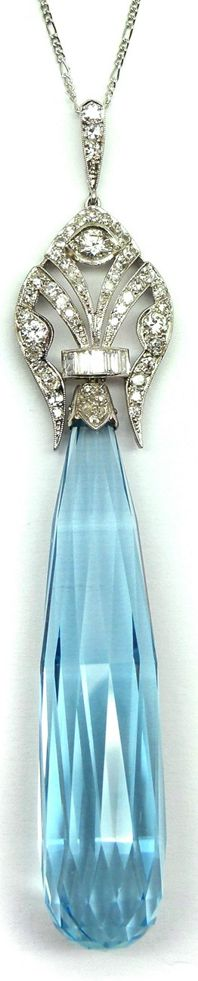 Art Deco aquamarine and diamond pendant, circa 1920. Via Diamonds in the Library.