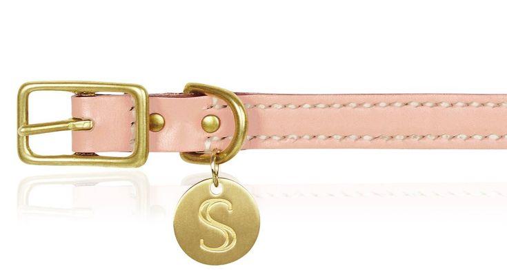 Leather Dog Collar - Soft Pink