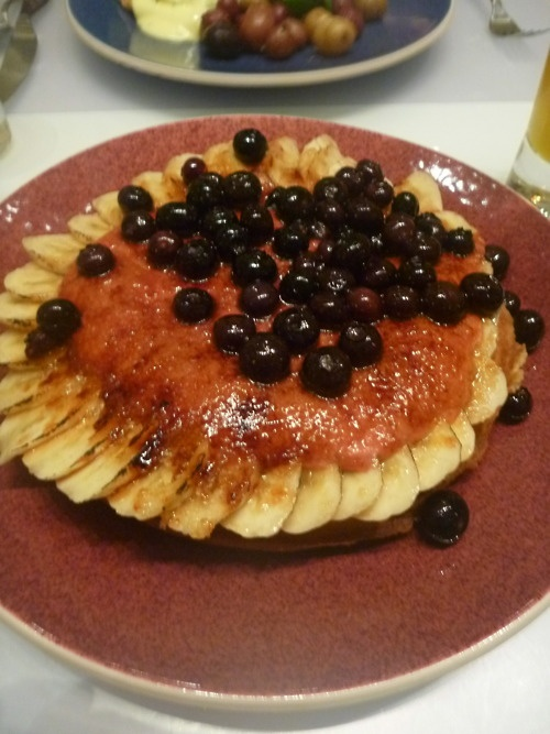 Waz-Za Waffle (Blueberry Waffle with Blueberries, Bananas, Berry Hollandaise, and a Brulee Top) @ Norma's (NYC)