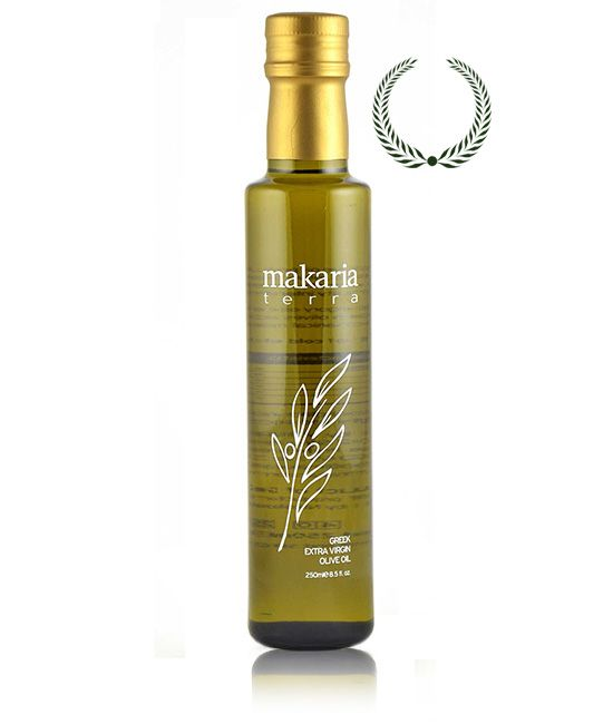 """Makaria Terra"" Dorica dark glass bottles of 250ml, 500ml and 750ml.  Our extra virgin olive oil is produced from the renowned local Koroneiki variety olives, which give oil of distinctive flavor and characteristics. Throughout the entire process, from olive cultivation to oil extraction, bottling and supply to our customers, our focus is on quality. We use age-old methods of cultivating and harvesting olives without chemicals and artificial irrigation. Our olives are pressed on th..."