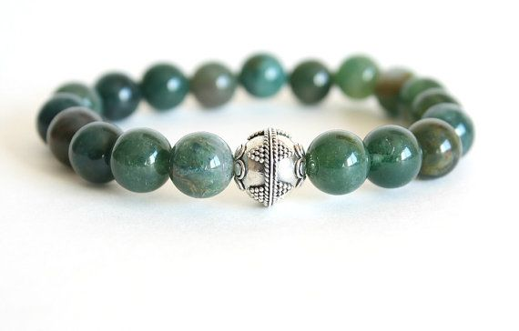 Men's Bracelet Moss Agate Stone & Bali Sterling Silver Green Stretch Bracelet on Etsy, $35.00 CAD
